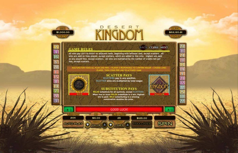 Play slots at Club Player: Club Player featuring the Video Slots Desert Kingdom with a maximum payout of $25,000