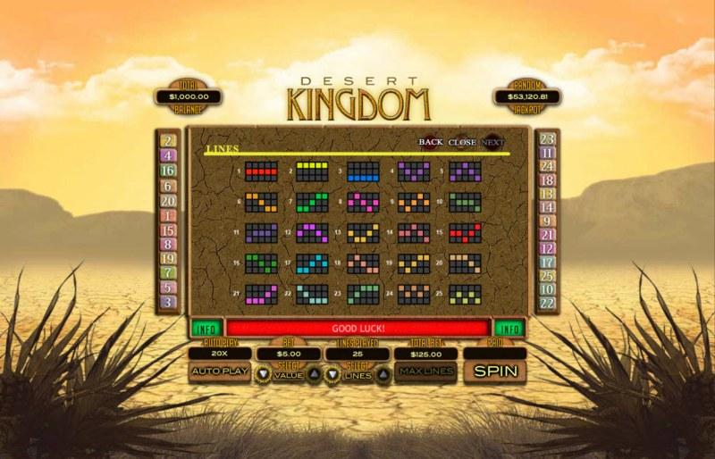 Desert Kingdom :: Paylines 1-25