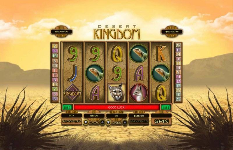 Play slots at Prima Play: Prima Play featuring the Video Slots Desert Kingdom with a maximum payout of $25,000