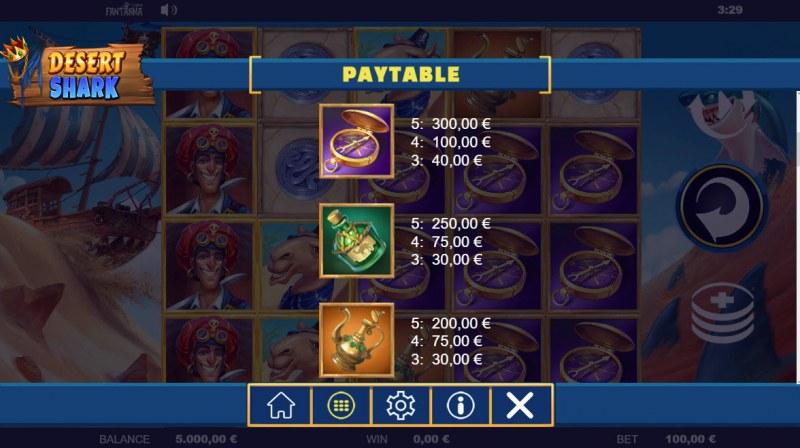 Desert Shark :: Paytable - Medium Value Symbols
