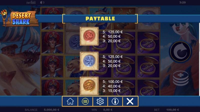 Desert Shark :: Paytable - Low Value Symbols