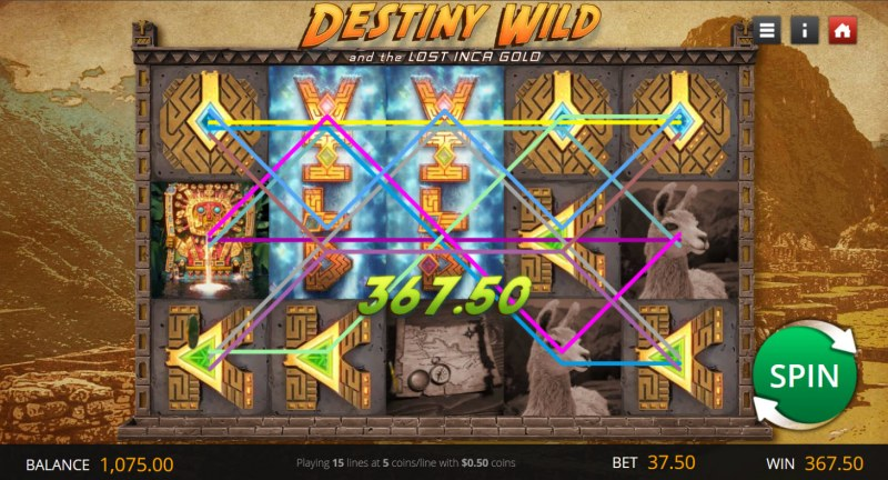 Destiny Wild and the Lost Inca Gold :: Multiple winning paylines