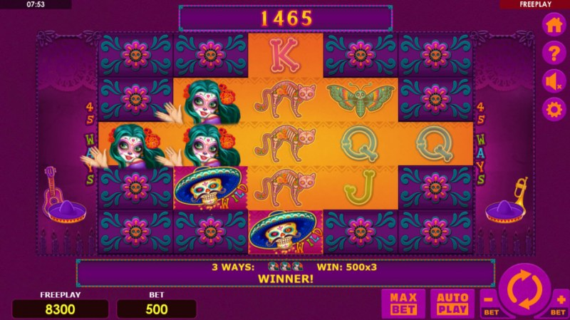 Dia Muertos :: Reels expand with each consecutive win