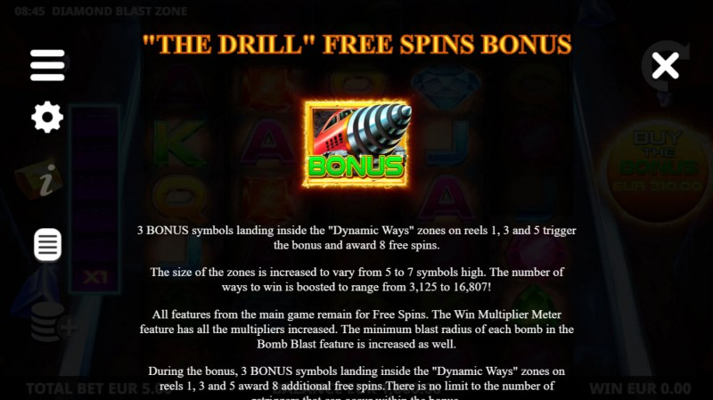 Diamond Blast Zone :: Free Spin Feature Rules