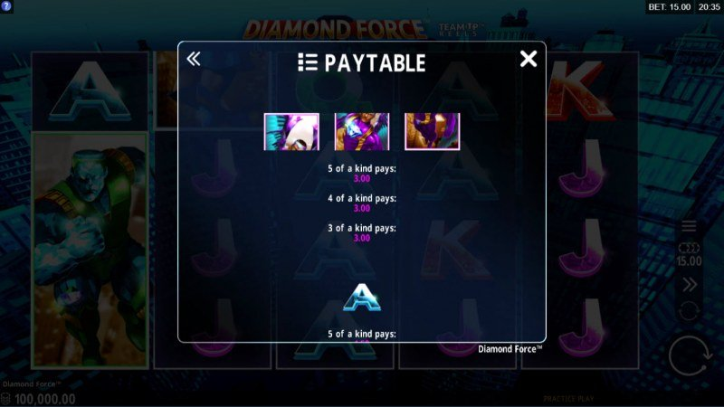 Diamond Force :: Paytable - Medium Value Symbols