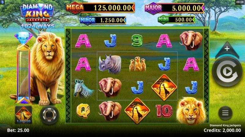 Diamond King Jackpots :: Main Game Board