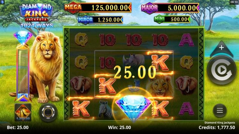 Diamond King Jackpots :: A four of a kind win