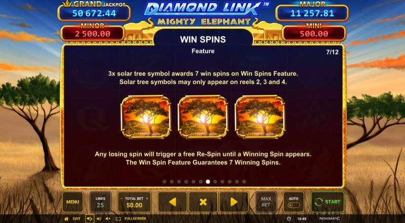 Diamond Link Mighty Elephant :: Free Spin Feature Rules