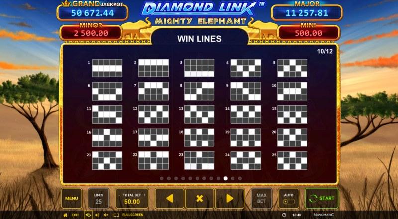 Diamond Link Mighty Elephant :: Paylines 1-25
