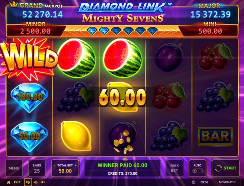 Diamond Link Mighty Sevens :: Multiple winning paylines