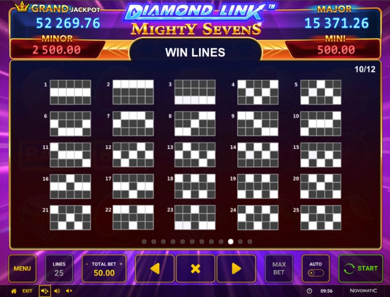 Diamond Link Mighty Sevens :: Paylines 1-25