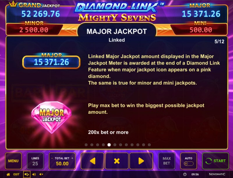 Diamond Link Mighty Sevens :: Jackpot Rules
