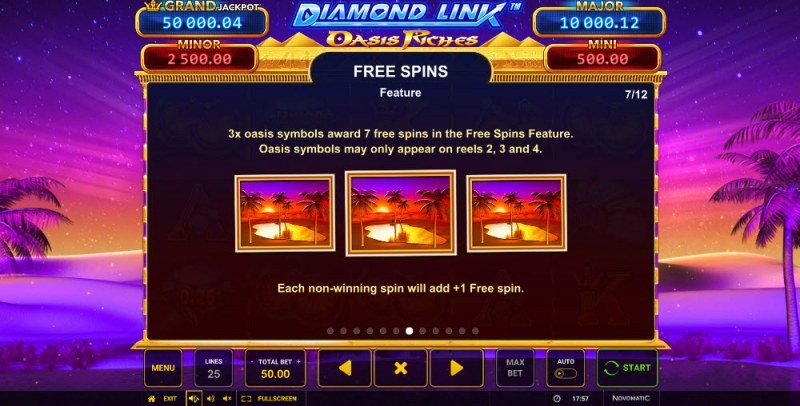 Diamond Link Oasis Riches :: Free Spins Rules