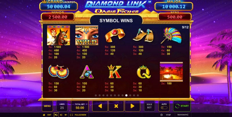 Diamond Link Oasis Riches :: Paytable