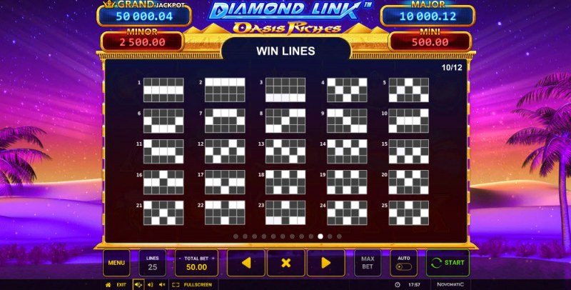 Diamond Link Oasis Riches :: Paylines 1-25