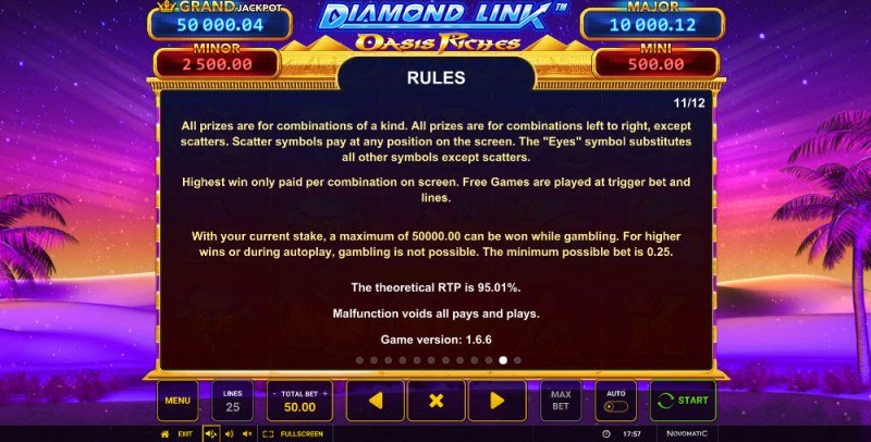 Diamond Link Oasis Riches :: General Game Rules