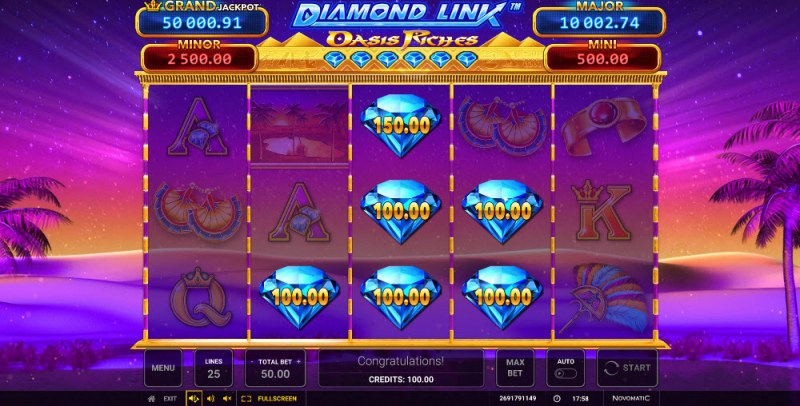 Diamond Link Oasis Riches :: Scatter symbols triggers the free spins feature
