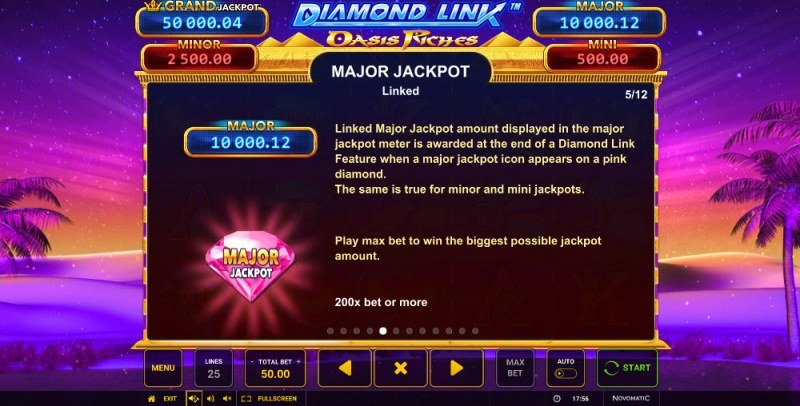 Diamond Link Oasis Riches :: Jackpot Rules