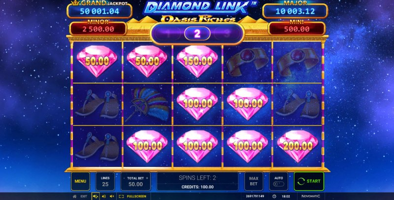 Diamond Link Oasis Riches :: Land pink diamonds and extend the free spins feature