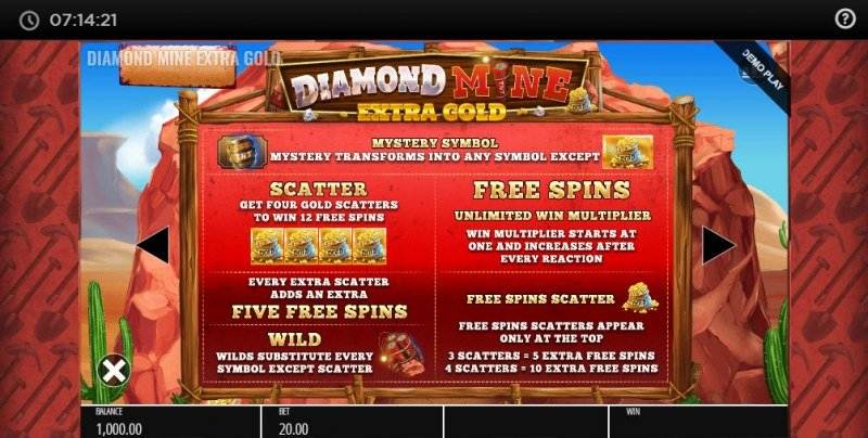 Diamond Mine Megaways :: Free Spins Rules