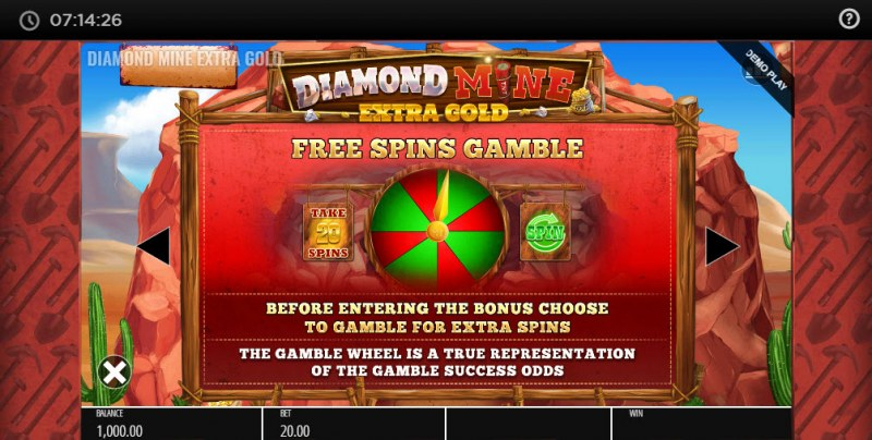 Diamond Mine Megaways :: Gamble Feature Rules