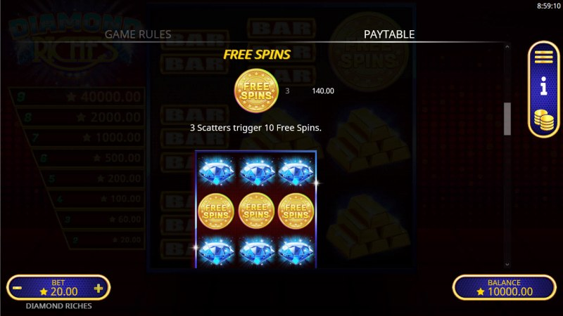 Diamond Riches :: Free Spin Feature Rules