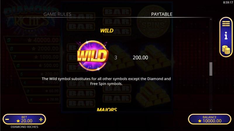 Diamond Riches :: Wild Symbol Rules
