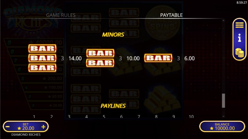 Diamond Riches :: Paytable - Low Value Symbols