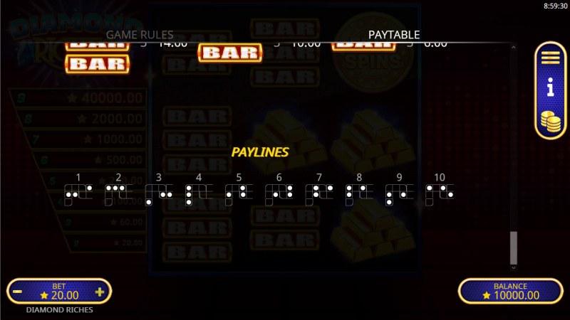 Diamond Riches :: Paylines 1-10