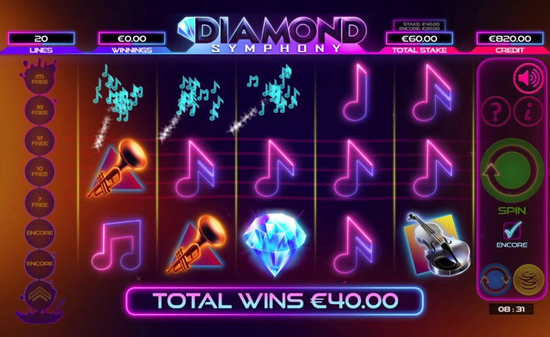 Diamond Symphony :: Winning symbols are removed from the reels and new symbols drop in place