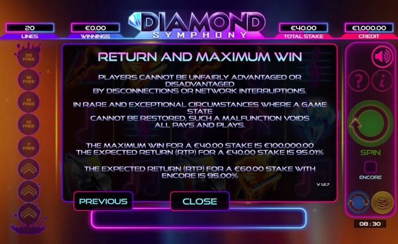 Diamond Symphony :: Return and Maximum Win