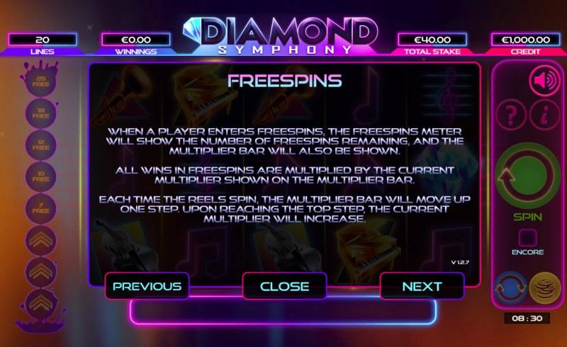 Diamond Symphony :: Free Spins Rules
