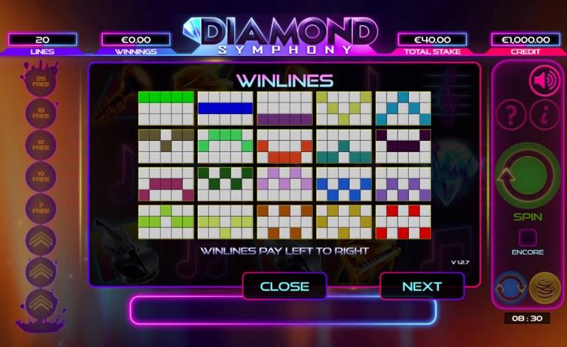 Diamond Symphony :: Paylines 1-20