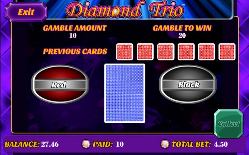 Diamond Trio :: Black or Red Gamble Feature