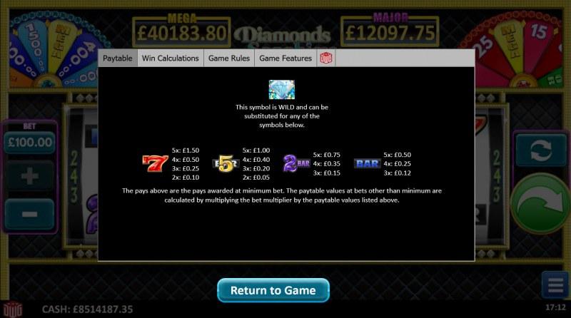 Diamonds Sapphires & Rubies :: Paytable