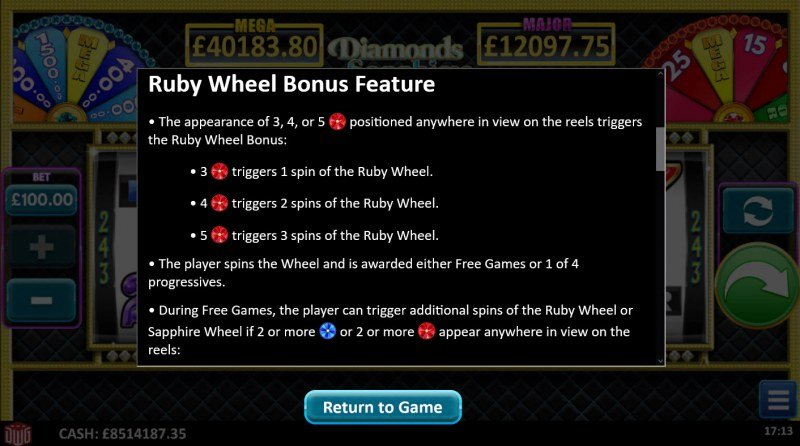 Diamonds Sapphires & Rubies :: Ruby Wheel Bonus Feature