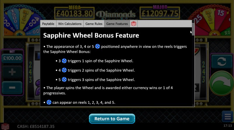 Diamonds Sapphires & Rubies :: Sapphire Wheel Bonus Feature