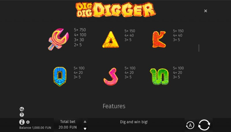 Dig Dig Digger :: Paytable - Low Value Symbols