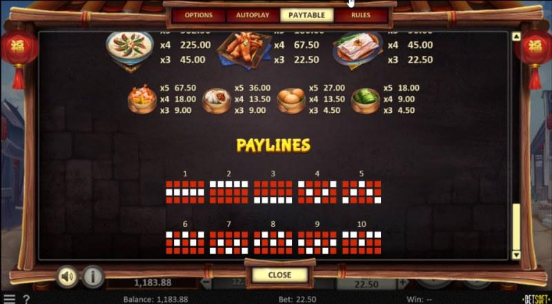 Dim Sum Prize :: Paylines 1-10