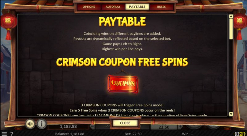 Dim Sum Prize :: Free Spins Rules