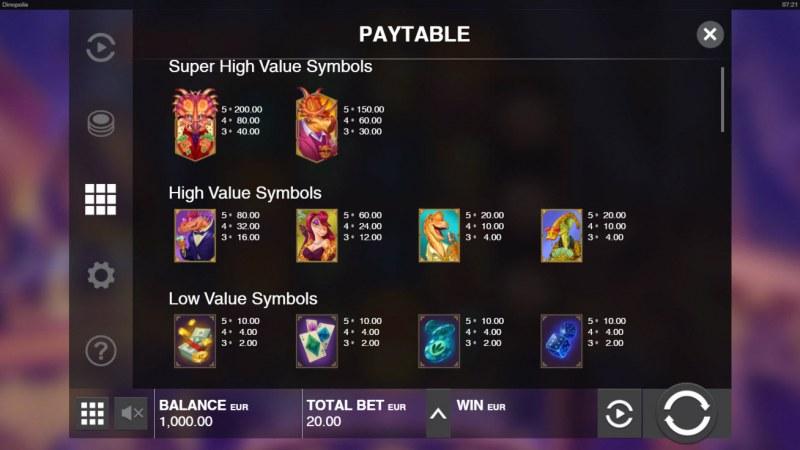 Dinopolis :: Paytable