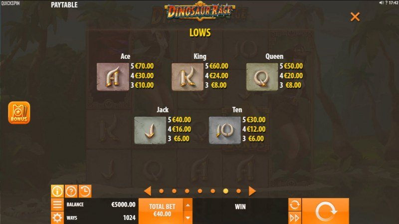 Dinosaur Rage :: Paytable - Low Value Symbols