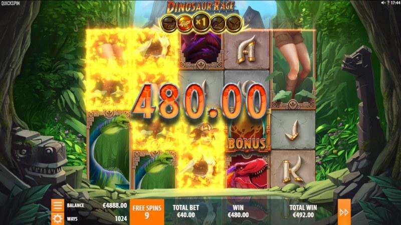 Dinosaur Rage :: Free Spins Game Board