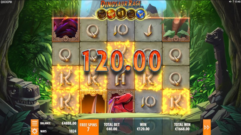 Dinosaur Rage :: A five of a kind win
