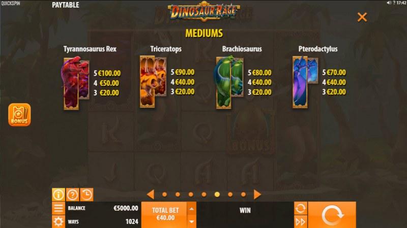 Dinosaur Rage :: Paytable - High Value Symbols