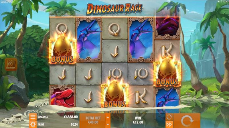 Dinosaur Rage :: Scatter symbols triggers the free spins bonus feature