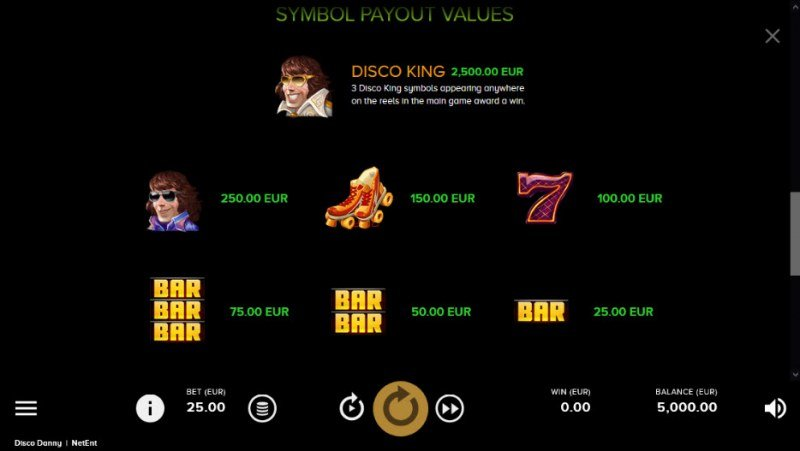 Disco Danny :: Paytable