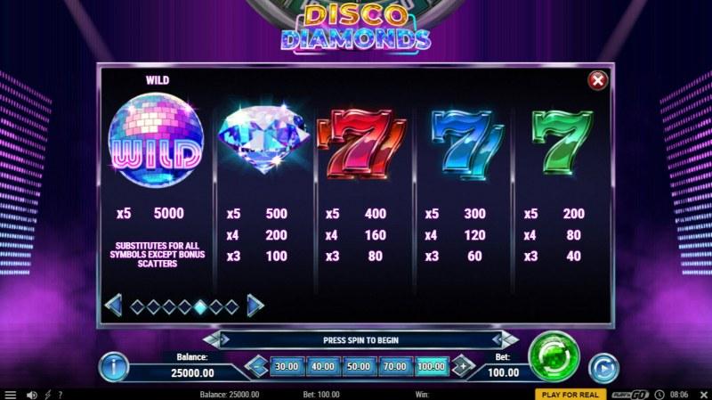 Disco Diamonds :: Paytable - High Value Symbols