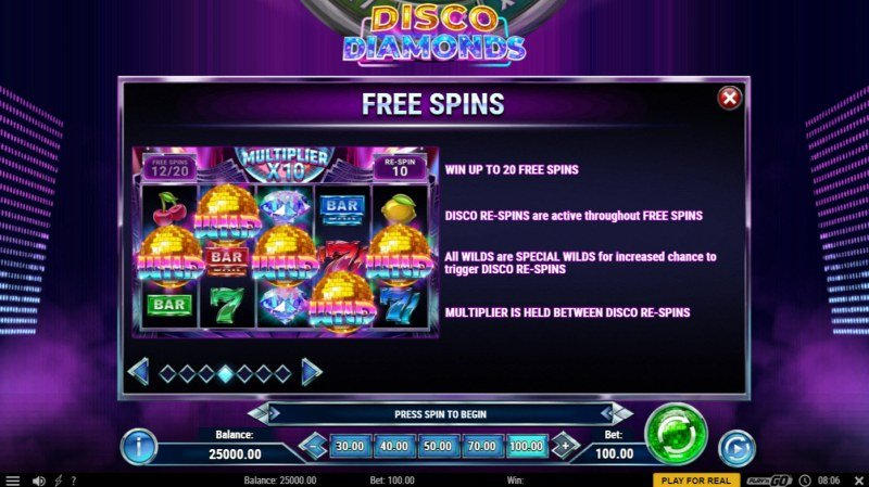 Disco Diamonds :: Free Spin Feature Rules