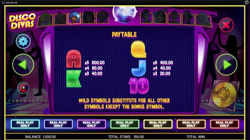 Disco Divas :: Paytable - Low Value Symbols